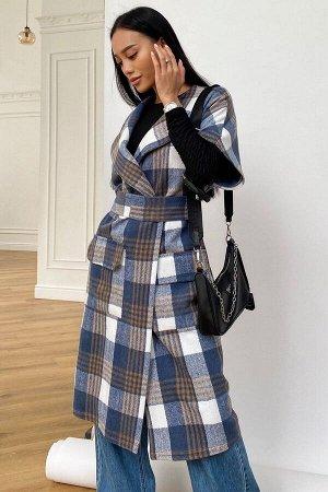 Пальто без рукавов Олье синий от Jadone Fashion