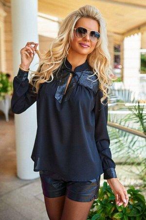 Невесомая чёрная блузка 1355 от Bisou