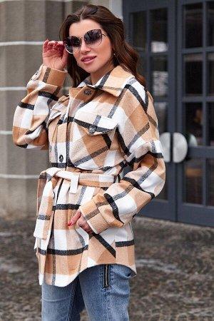 Пальто-рубашка Нетти бежевый от Jadone Fashion
