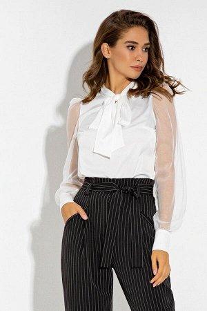 Нарядная шелковая белая блуза с длинным рукавом из сетки Ведана 21246 от It Elle