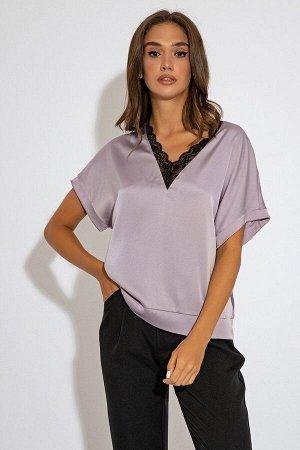 Блуза с коротким рукавом сиреневого цвета Иллиана 21241 от It Elle