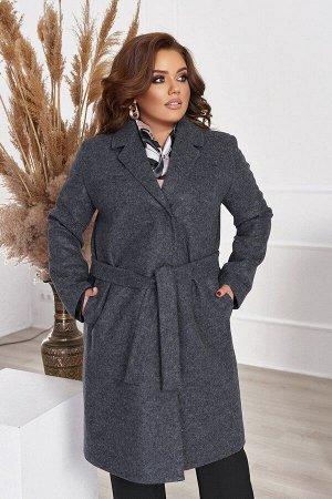 Пальто женское кашемировое большого размера с подкладкой и поясом 1311-1 от So StyleM