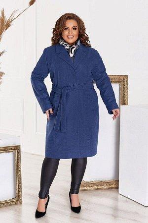 Пальто женское кашемировое большого размера с подкладкой и поясом 1311-2 от So StyleM