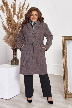 Пальто женское кашемировое большого размера с подкладкой и поясом 1311-4 от So StyleM