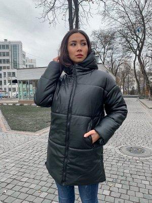 Зимняя женская куртка из эко кожи с капюшоном 8 от K&ML