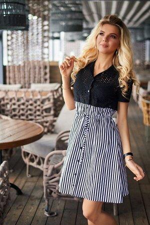 Летнее платье с прошвой 7896 Батал от Bisou