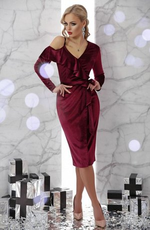 Платье Валерия д/р бордо p45695 от Glem