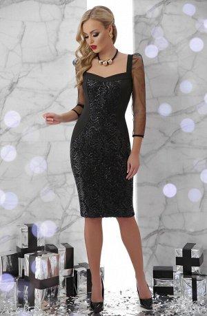 Платье Памела д/р черный p45746 от Glem