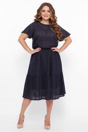 Летнее платье из прошвы ТАРА темно-синее от Tatiana