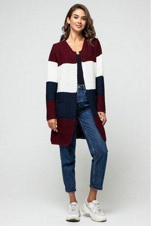 """Вязаный кардиган """"Меги"""" Бордо, темно-синий, молоко 4527081 от Prima Fashion Knit"""