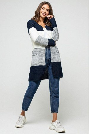 "Вязаный кардиган ""Меги"" - Темно-синий, серый, молоко 4527095 от Prima Fashion Knit"