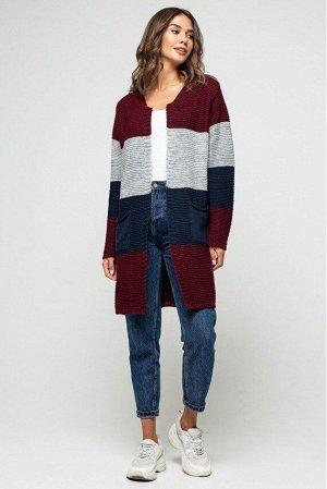 "Вязаный кардиган ""Меги"" - Бордо, темно-синий, серый 4527097 от Prima Fashion Knit"