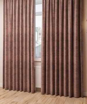 Комплект штор какао оттенка: 2 шторы по 200 см