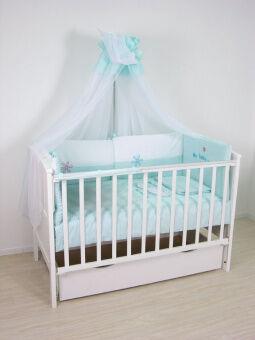 *Комплект в кроватку Polini Белые кудряшки, 140*70, 7-ми предм., цвет голубой