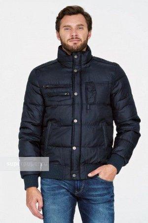 Мужская текстильная курткана искусственном пуху с отделкой из трикотажа
