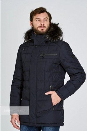 Мужская текстильная курткана искусственном пуху с отделкой искусственной кожей и мехом енота