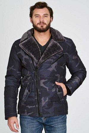 Мужская текстильная курткана искусственном пуху с отделкой меховой тканью