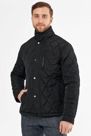 Мужская текстильная курткана синтепоне с отделкой искусственной кожей и трикотажем