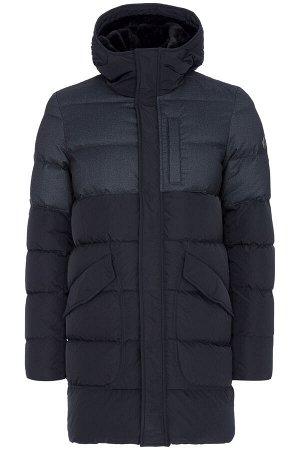 Мужское текстильное пальто на натуральном пуху с отделкой меховой тканью