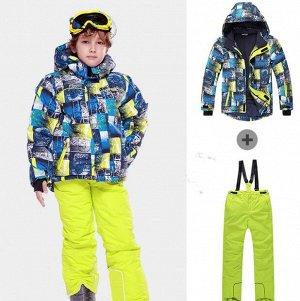 Детский лыжный костюм (сине-желтая куртка и желтые штаны)