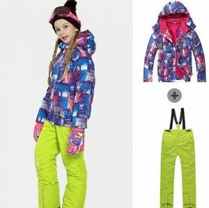 Детский лыжный костюм (сине-розовая куртка и желтые штаны)