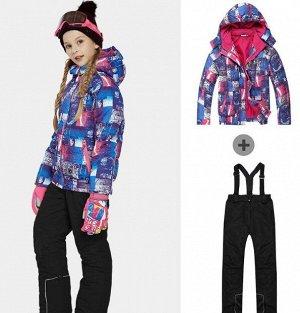Детский лыжный костюм (сине-розовая куртка и черные штаны)