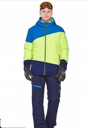 Мужской лыжный костюм (Куртка, цвет синий/желто-зеленый/темно-синий; темно-синие штаны)