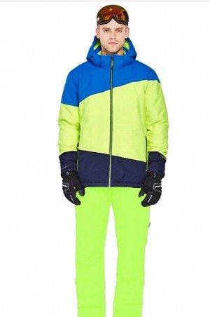 Мужской лыжный костюм (Куртка, цвет синий/желто-зеленый/темно-синий; желтые штаны)