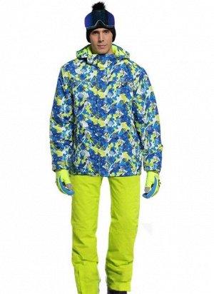 Мужской лыжный костюм (Куртка, цвет синий/желто-зеленый; желтые штаны)