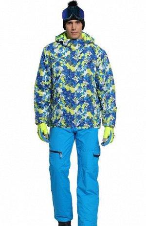 Мужской лыжный костюм (Куртка, цвет синий/желто-зеленый; синие штаны)