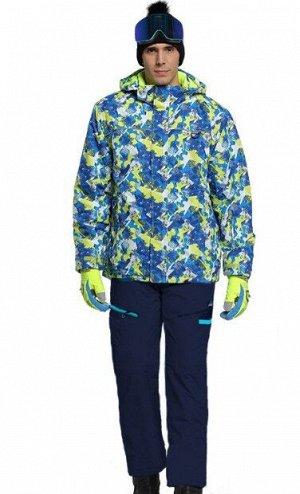 Мужской лыжный костюм (Куртка, цвет синий/желто-зеленый; темно-синие штаны)
