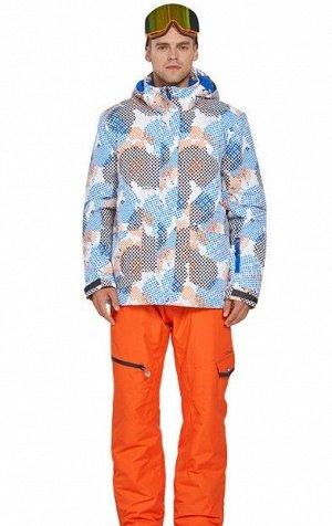 Мужской лыжный костюм (Куртка с принтом; оранжевые штаны)