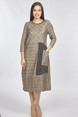 Платье женское бохо 5897/02/Коричневый, серый