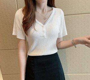 Женская футболка, с декоративными пуговицами, цвет белый