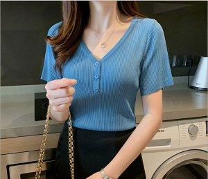 Женская футболка, с декоративными пуговицами, цвет синий