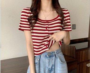 """Женская футболка, принт """"Полосы"""", цвет красный/бежевый"""