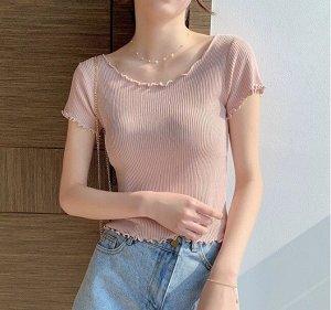 Женская футболка, с рюшами, цвет розовый
