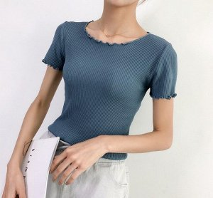 Женская футболка, с рюшами, цвет синий