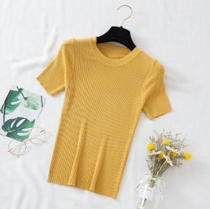 Женская футболка-лапша, цвет желтый