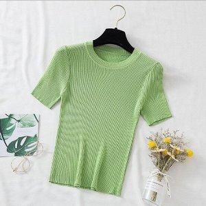 Женская футболка-лапша, цвет зеленый