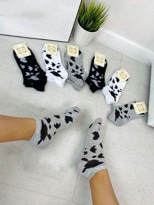 Женские укороченные носочки с оригинальным принтом