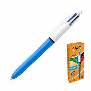 Ручка шариковая автоматическая, 4-цветная (синий, красный, зелёный, чёрный), 1.0 мм, среднее письмо, BIC 4 Сolours Original