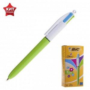 Ручка шариковая, автоматическая, среднее письмо, многоцветная 4 цвета, BIC 4Colors Fashion