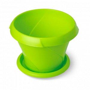 Кашпо, 0,7 л, d 135 мм, с поддоном, пластик, салатовый, ФЛОРИАНА