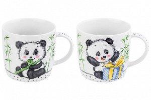 """Набор 2 кружек 300 мл 11*8*7,5 см """"Панда с большим подарком"""" + """"Панда с бамбуком"""""""