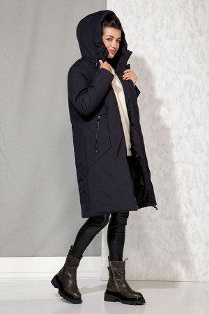 Пальто Пальто Beautiful&Free 4061 темно-синий  Состав: ПЭ-100%; Сезон: Осень-Зима  Пальто женское зимнее, из гладкокрашеной полиэфирной ткани, на притачной подкладке с одним слоем синтепона.Пальто пр
