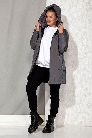 Пальто Пальто Beautiful&Free 4062 графитовый  Состав: ПЭ-100%; Сезон: Осень-Зима  Полупальто женское, зимнее, из гладкокрашеной хлопкополиэфирной ткани, с утепляющей подкладкой из 2-х слоев синтепона
