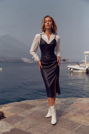Стильное платье из эко-кожи