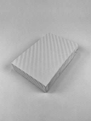 Простыня на резинке страйп сатин белая