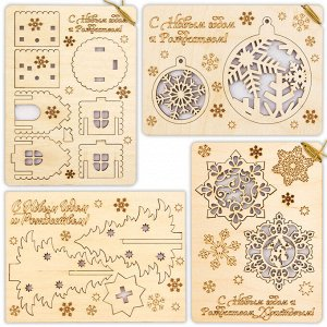 Набор деревянных открыток с сувениром 4 шт.